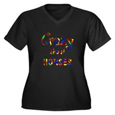 Crazy About Horses Women's Plus Size V-Neck Dark T