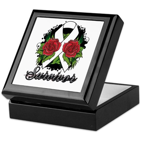 Lung Cancer Survivor Rose Tattoo Keepsake Box