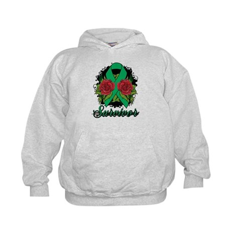 Liver Cancer Survivor Rose Tattoo Kids Hoodie