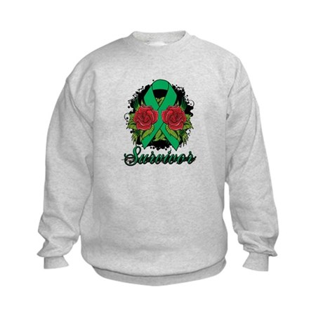 Liver Cancer Survivor Rose Tattoo Kids Sweatshirt