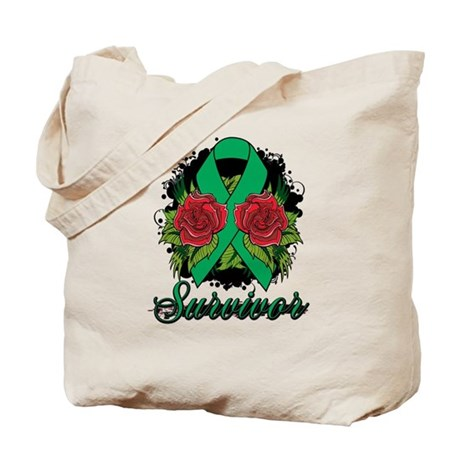 Liver Cancer Survivor Rose Tattoo Tote Bag