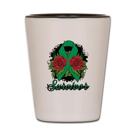 Liver Cancer Survivor Rose Tattoo Shot Glass