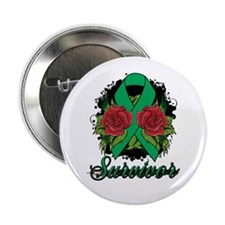 "Liver Cancer Survivor Rose Tattoo 2.25"" Button"