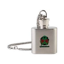 Liver Cancer Survivor Rose Tattoo Flask Necklace