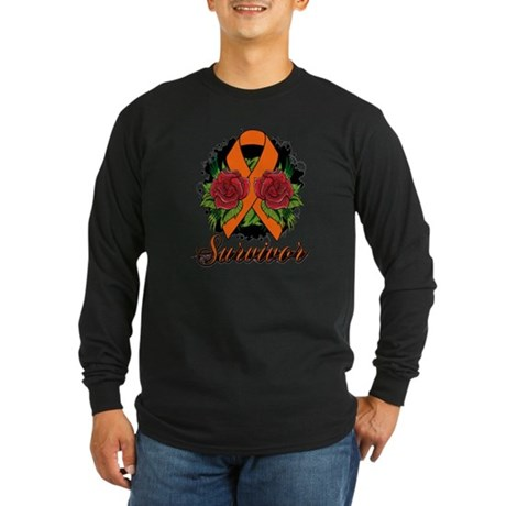 Leukemia Survivor Rose Tattoo Long Sleeve Dark T-S