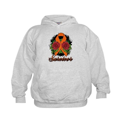 Leukemia Survivor Rose Tattoo Kids Hoodie