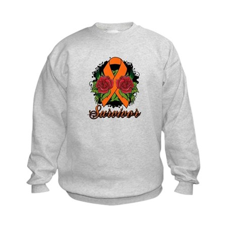 Leukemia Survivor Rose Tattoo Kids Sweatshirt