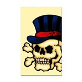 Skull In Top Hat Tattoo Art  Rectangle Car Magnet