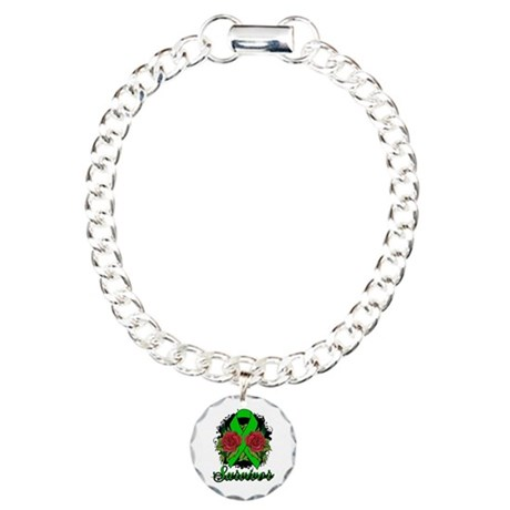 Kidney Disease Survivor Rose Tattoo Charm Bracelet
