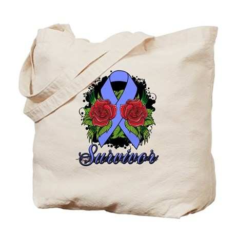 Intestinal Cancer Survivor Rose Tattoo Tote Bag