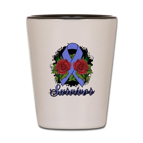 Intestinal Cancer Survivor Rose Tattoo Shot Glass