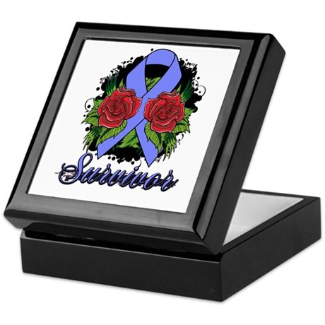 Intestinal Cancer Survivor Rose Tattoo Keepsake Bo