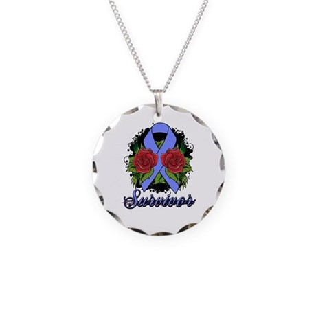 Intestinal Cancer Survivor Rose Tattoo Necklace Ci