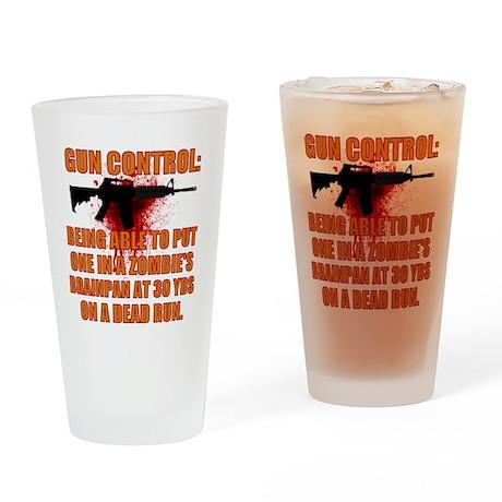 Zombie gun control Drinking Glass