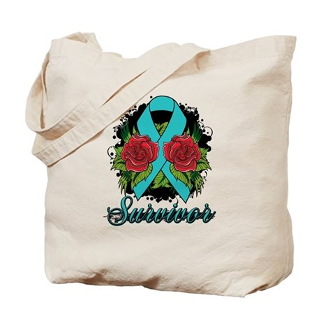Interstitial Cystitis Survivor Rose Tattoo Tote Ba