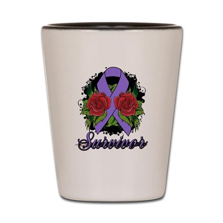 Hodgkins Lymphoma Survivor Rose Tattoo Shot Glass