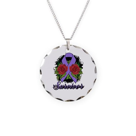 Hodgkins Lymphoma Survivor Rose Tattoo Necklace Ci