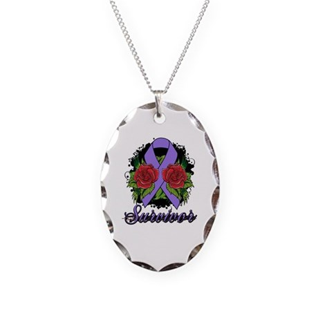 Hodgkins Lymphoma Survivor Rose Tattoo Necklace Ov