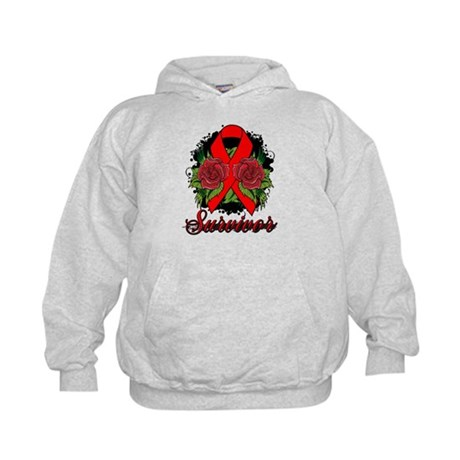 Heart Disease Survivor Rose Tattoo Kids Hoodie
