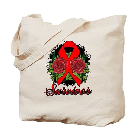 Heart Disease Survivor Rose Tattoo Tote Bag