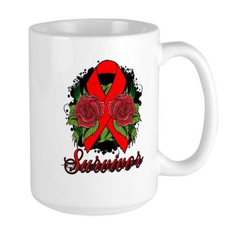 Heart Disease Survivor Rose Tattoo Large Mug