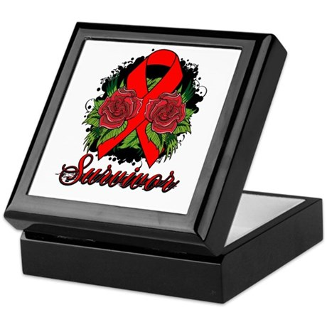 Heart Disease Survivor Rose Tattoo Keepsake Box