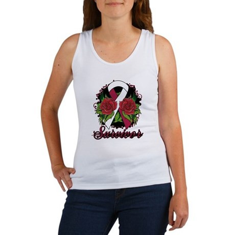 Head Neck Cancer Survivor Rose Tattoo Women's Tank