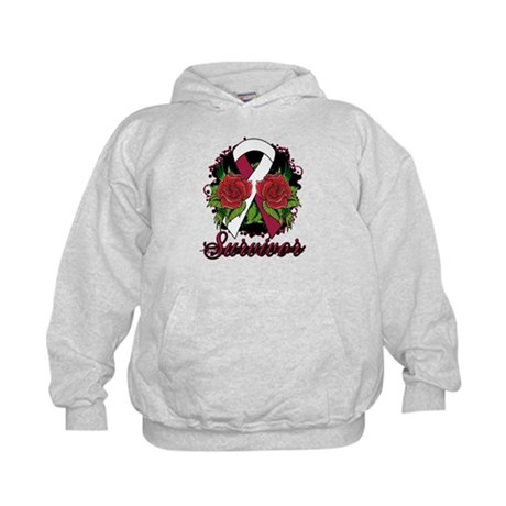 Head Neck Cancer Survivor Rose Tattoo Kids Hoodie