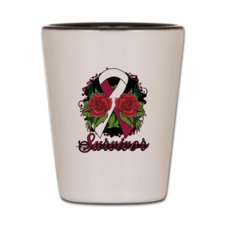 Head Neck Cancer Survivor Rose Tattoo Shot Glass