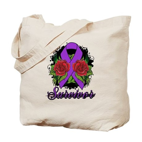 GIST Cancer Survivor Rose Tattoo Tote Bag