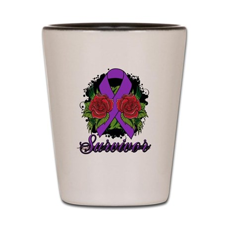GIST Cancer Survivor Rose Tattoo Shot Glass
