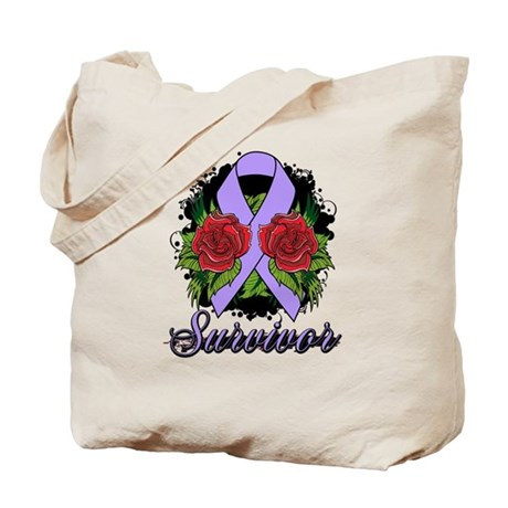 General Cancer Survivor Rose Tattoo Tote Bag