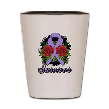 General Cancer Survivor Rose Tattoo Shot Glass