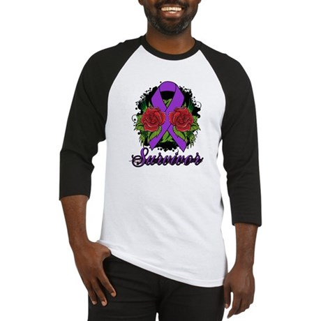 Fibromyalgia Survivor Rose Tattoo Baseball Jersey