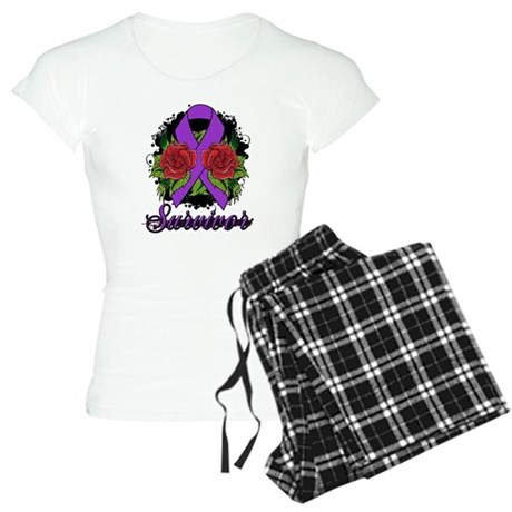 Fibromyalgia Survivor Rose Tattoo Women's Light Pa