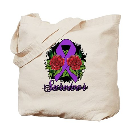 Fibromyalgia Survivor Rose Tattoo Tote Bag