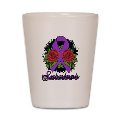 Fibromyalgia Survivor Rose Tattoo Shot Glass