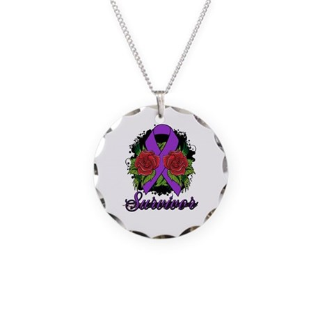 Fibromyalgia Survivor Rose Tattoo Necklace Circle