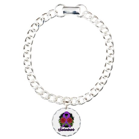 Fibromyalgia Survivor Rose Tattoo Charm Bracelet,