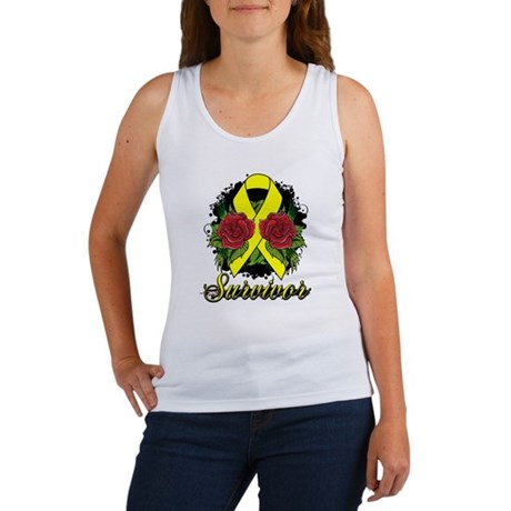 Ewings Sarcoma Survivor Rose Tattoo Women's Tank T