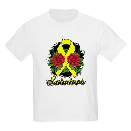 Ewings Sarcoma Survivor Rose Tattoo Kids Light T-S