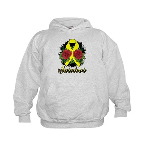 Ewings Sarcoma Survivor Rose Tattoo Kids Hoodie