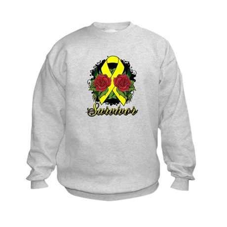 Ewings Sarcoma Survivor Rose Tattoo Kids Sweatshir