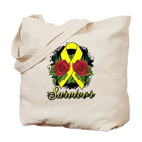 Ewings Sarcoma Survivor Rose Tattoo Tote Bag