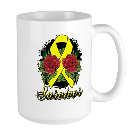 Ewings Sarcoma Survivor Rose Tattoo Large Mug