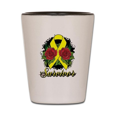 Ewings Sarcoma Survivor Rose Tattoo Shot Glass