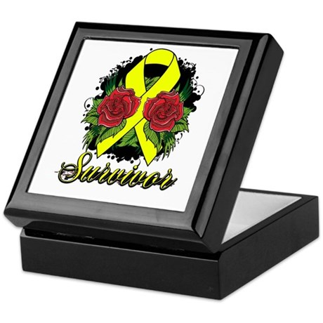 Ewings Sarcoma Survivor Rose Tattoo Keepsake Box