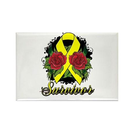 Ewings Sarcoma Survivor Rose Tattoo Rectangle Magn