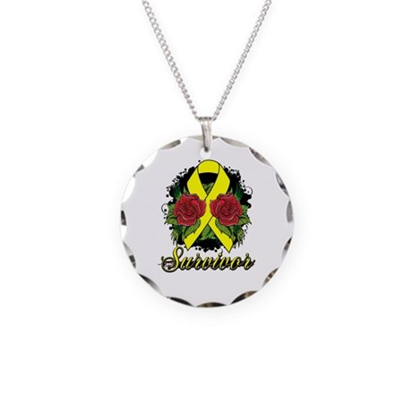 Ewings Sarcoma Survivor Rose Tattoo Necklace Circl