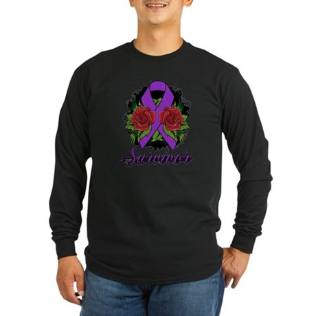 Epilepsy Survivor Rose Tattoo Long Sleeve Dark T-S